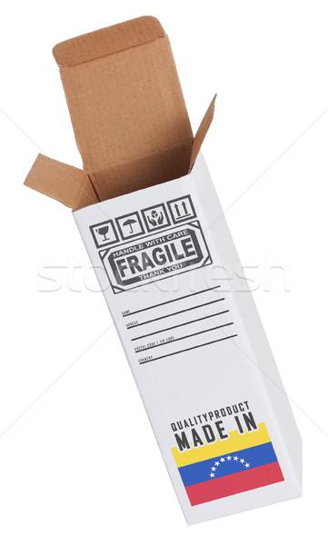 Exportar produto Venezuela papel caixa Foto stock © michaklootwijk