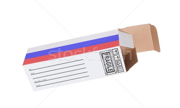Export termék Oroszország kinyitott papír doboz Stock fotó © michaklootwijk