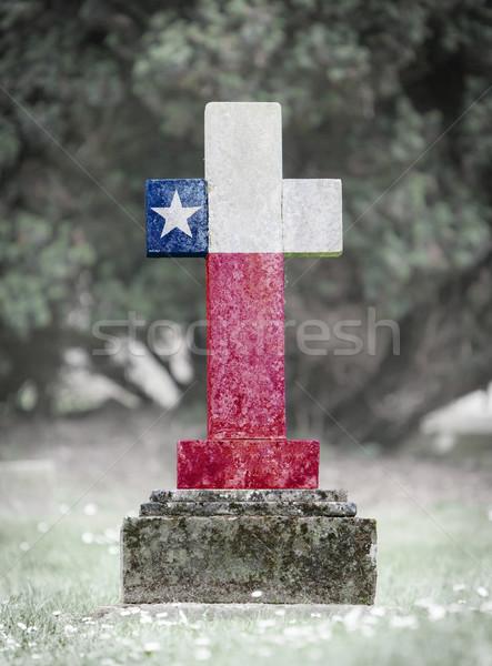 Lápida sepulcral cementerio Texas edad capeado bandera Foto stock © michaklootwijk