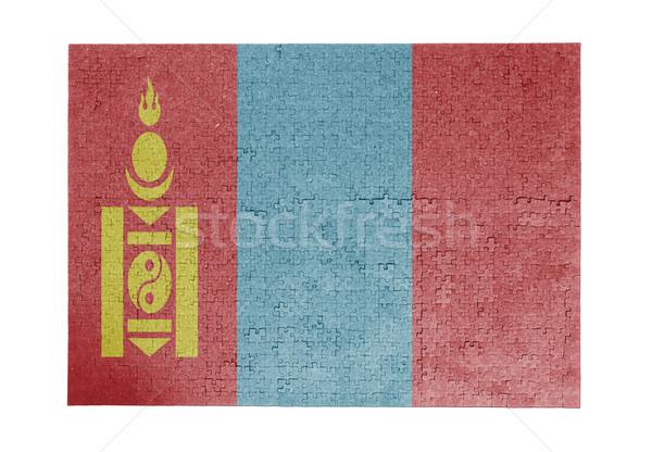 Nagy kirakós játék 1000 darabok Mongólia zászló Stock fotó © michaklootwijk