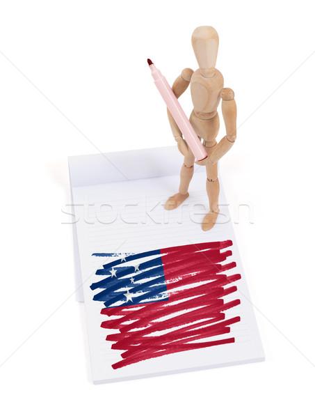 Houten etalagepop tekening Samoa vlag papier Stockfoto © michaklootwijk