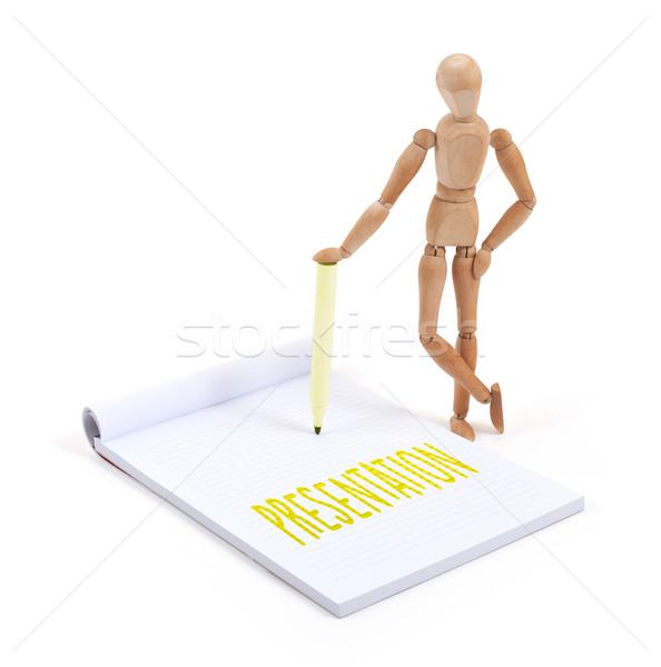 Houten etalagepop schrijven presentatie plakboek papier Stockfoto © michaklootwijk