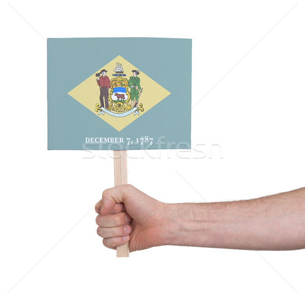 Hand holding small card - Flag of Delaware Stock photo © michaklootwijk