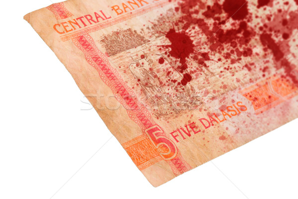 Stock photo: 5 Gambian dalasi bank note, bloody