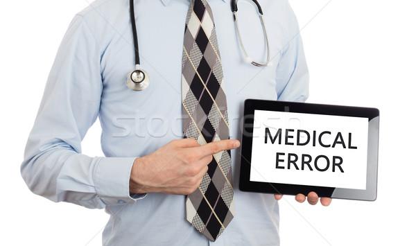 Stok fotoğraf: Doktor · tablet · tıbbi · hata · yalıtılmış