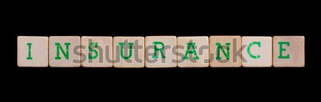 Green letters on old wooden blocks (information management) Stock photo © michaklootwijk