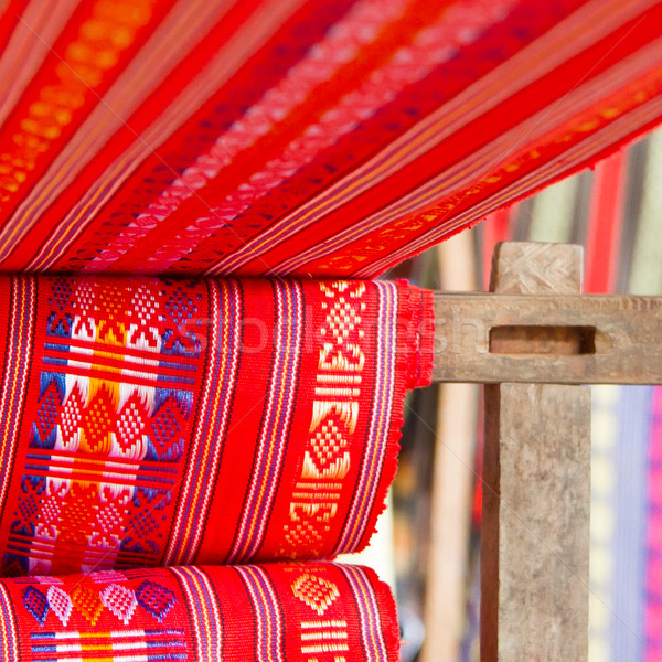 Handmade silk textile industry, silk scarf on a old machine Stock photo © michaklootwijk