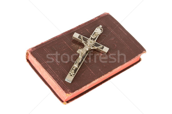 Stock photo: Old antique bible and cross on a white background