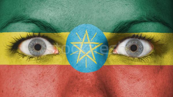 глазах флаг окрашенный лице Эфиопия Сток-фото © michaklootwijk