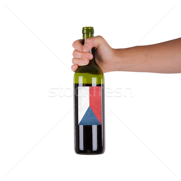 Mano botella vino tinto etiqueta Chile Foto stock © michaklootwijk