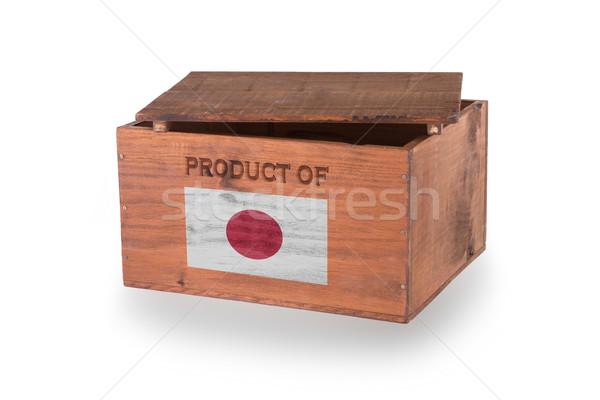 Stock fotó: Fából · készült · láda · izolált · fehér · termék · Japán