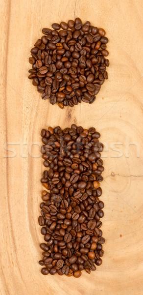 Letter i alfabet koffiebonen geïsoleerd hout koffie Stockfoto © michaklootwijk