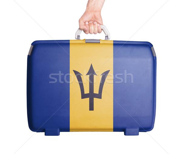 Stockfoto: Gebruikt · plastic · koffer · afgedrukt · vlag