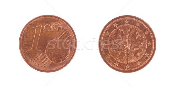один евро монеты изолированный белый фон Сток-фото © michaklootwijk