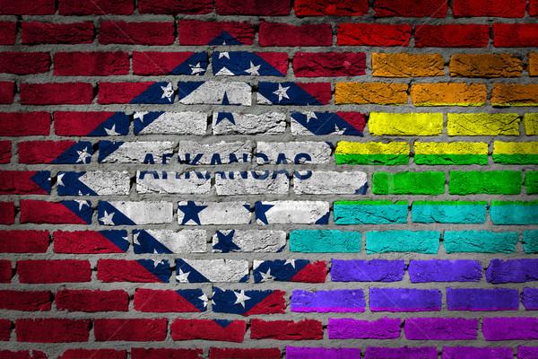 Sötét téglafal jogok Arkansas textúra zászló Stock fotó © michaklootwijk