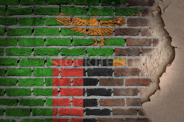 Sötét téglafal tapasz Zambia textúra zászló Stock fotó © michaklootwijk