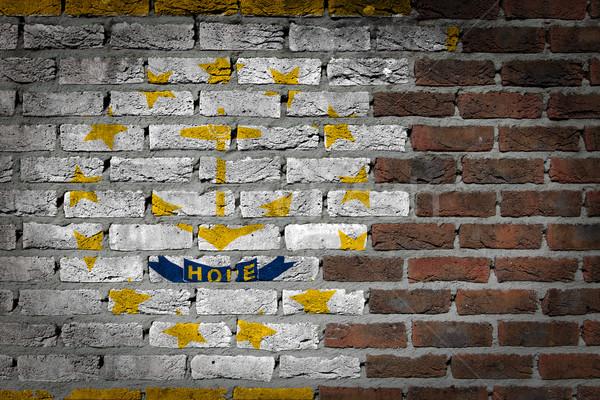 Escuro parede de tijolos Rhode Island textura bandeira pintado Foto stock © michaklootwijk