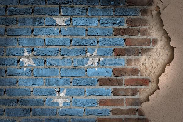 暗い レンガの壁 石膏 ミクロネシア テクスチャ フラグ ストックフォト © michaklootwijk