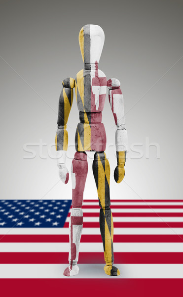 Wood figure mannequin with US state flag bodypaint - Maryland Stock photo © michaklootwijk