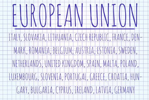 Europese unie woordwolk geschreven stuk papier Stockfoto © michaklootwijk