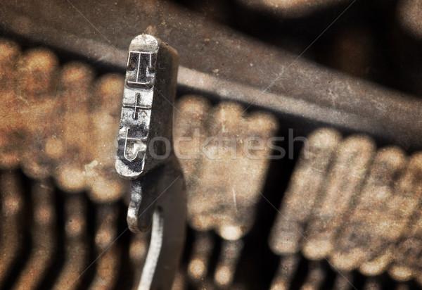 Kalapács öreg utasítás írógép meleg szűrő Stock fotó © michaklootwijk