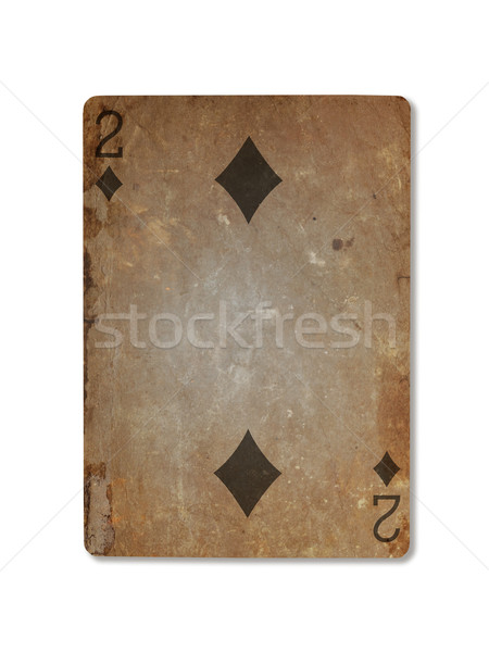 Very old playing card, two of diamonds Stock photo © michaklootwijk
