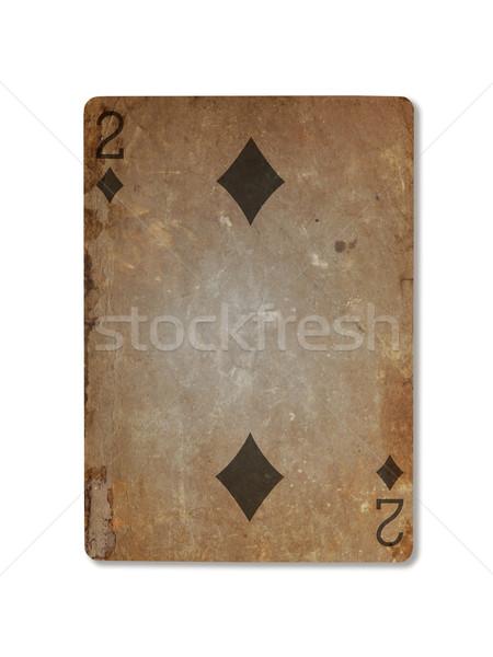 Oude spelen kaart twee diamanten geïsoleerd Stockfoto © michaklootwijk