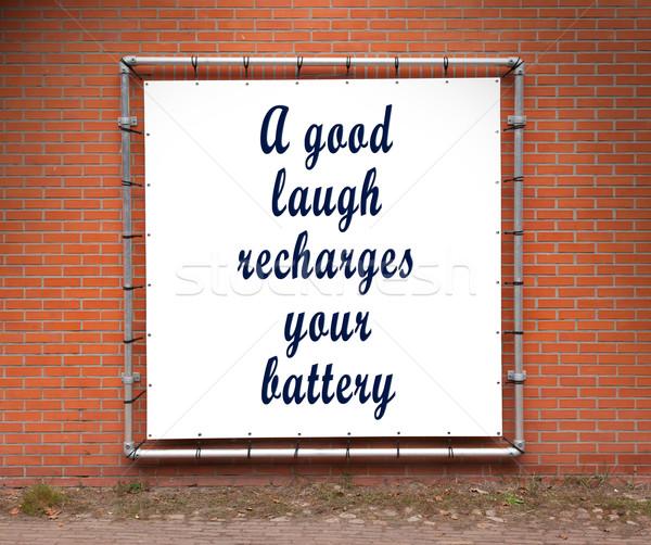 Nagy szalag inspiráló idézet téglafal jó Stock fotó © michaklootwijk