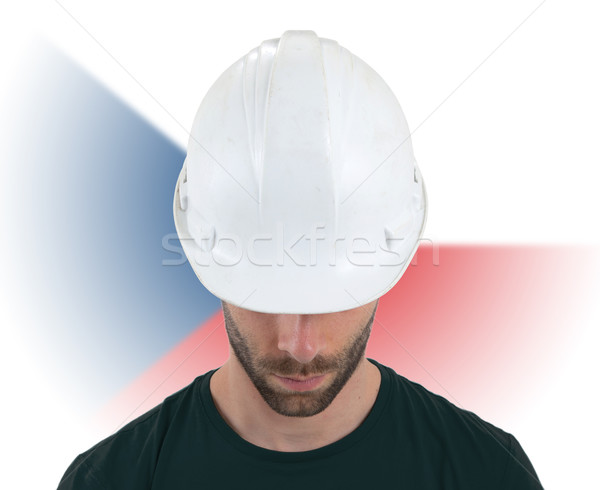 Stock photo: Engineer with flag on background - Czech Republic