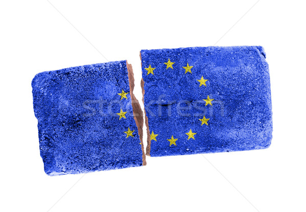 áspero quebrado tijolo isolado branco bandeira Foto stock © michaklootwijk