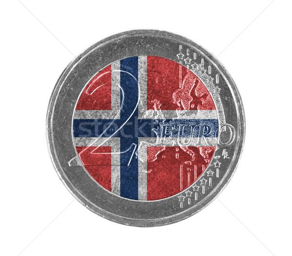 Euro moeda isolado branco bandeira Noruega Foto stock © michaklootwijk
