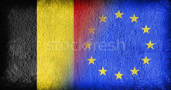 Bélgica ue banderas pintado agrietado concretas Foto stock © michaklootwijk