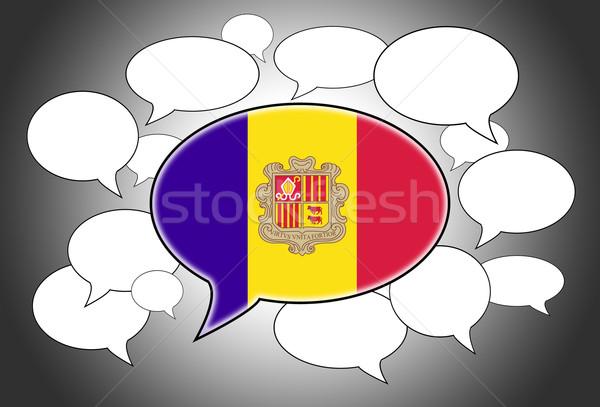 Communicatie speech cloud stem Andorra ruimte vlag Stockfoto © michaklootwijk