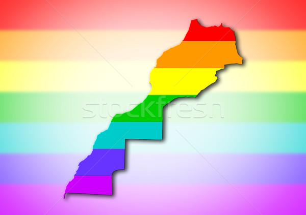 Marokkó szivárvány zászló minta térkép utazás Stock fotó © michaklootwijk