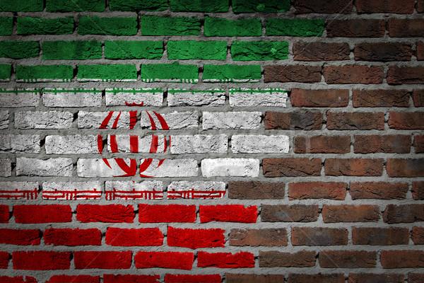 Escuro parede de tijolos Irã textura bandeira pintado Foto stock © michaklootwijk