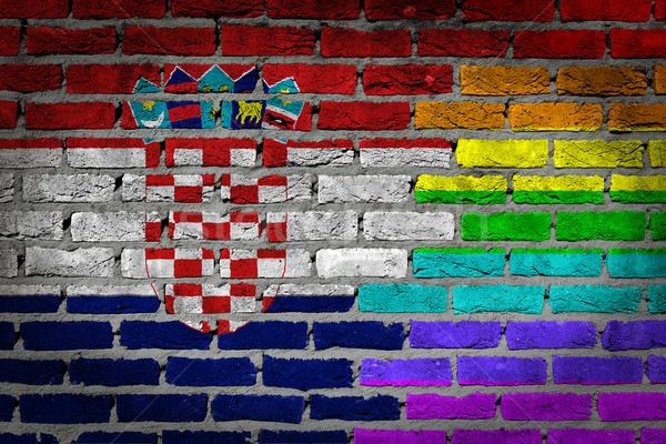 Dark brick wall - LGBT rights - Croatia Stock photo © michaklootwijk