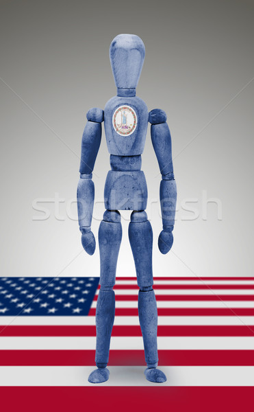 Wood figure mannequin with US state flag bodypaint - Virginia Stock photo © michaklootwijk