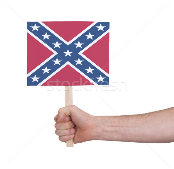 Hand holding small card - Flag of the Confederacy Stock photo © michaklootwijk