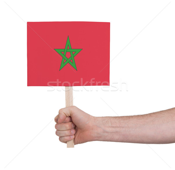 Hand holding small card - Flag of Morocco Stock photo © michaklootwijk