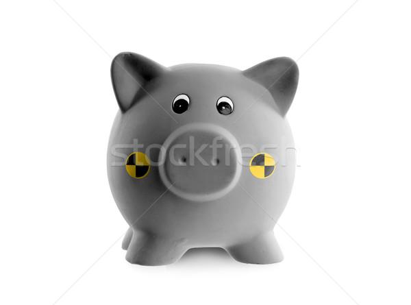 Ceramiczne banku piggy crash test odizolowany biały Zdjęcia stock © michaklootwijk