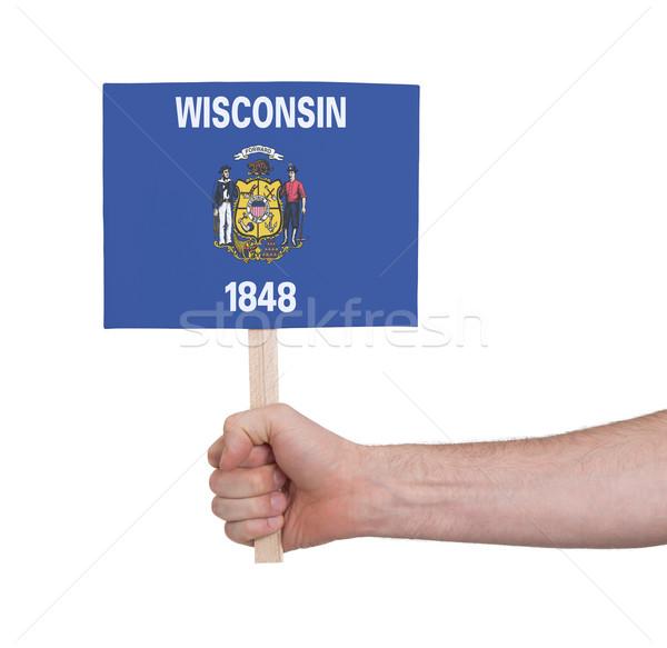 Stock fotó: Kéz · tart · kicsi · kártya · zászló · Wisconsin