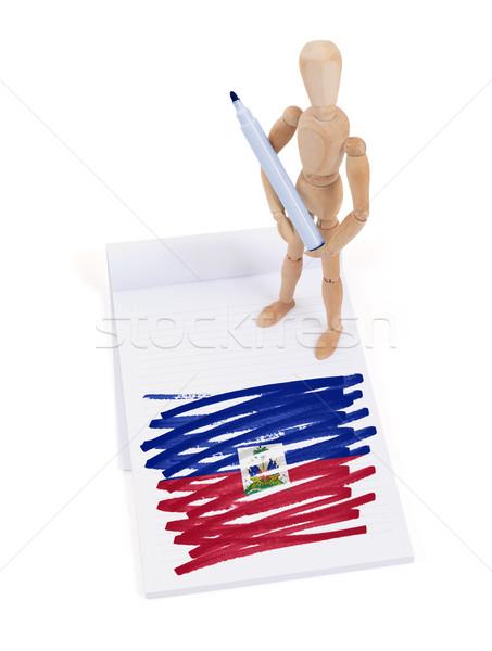 Bois mannequin dessin Haïti pavillon papier Photo stock © michaklootwijk