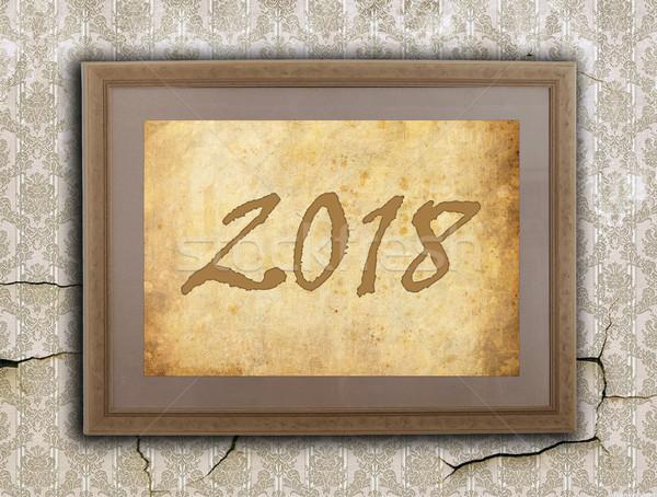 старые кадр грубая оберточная бумага Новый год стены знак Сток-фото © michaklootwijk