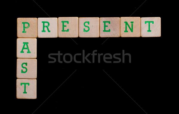 Verde lettere vecchio presenti passato Foto d'archivio © michaklootwijk