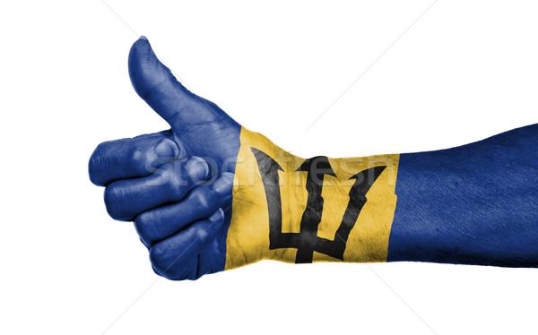 Stockfoto: Oude · vrouw · teken · geïsoleerd · vlag · Barbados