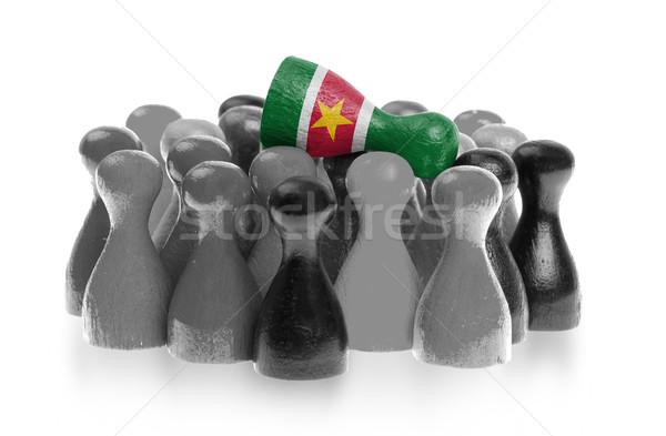 Een uniek pion top vlag Suriname Stockfoto © michaklootwijk