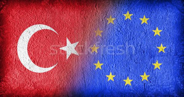 トルコ eu フラグ 描いた ひびの入った 具体的な ストックフォト © michaklootwijk