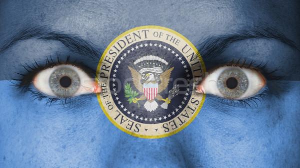 Mulheres olho olhos azuis presidencial selar Foto stock © michaklootwijk
