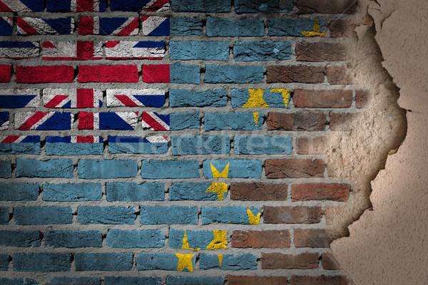 Sötét téglafal tapasz Tuvalu textúra zászló Stock fotó © michaklootwijk
