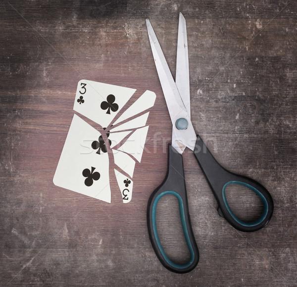 Dipendenza carta forbici tre carta legno Foto d'archivio © michaklootwijk